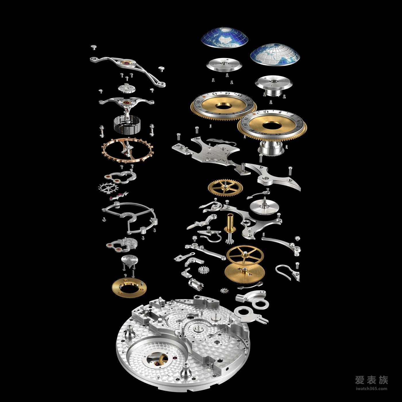 机芯 雕刻师的非凡工艺还体现在手动上链机芯MB M68.40的背面,可透过大气背盖一览无遗。 同样的手工雕刻技艺还运用在装饰这种独特波纹的手制桥板上——装饰机芯下部的波纹 相对平缓,越到机芯顶部越汹涌,旨在向20世纪初穿过危险大西洋的蒸汽船的开拓精神 致敬。手动上链机芯还具备水平缎面处理的主夹板,传统苹果形桥板经精美的内角倒角 处理,手工镌刻机芯编号并装饰黑色珐琅的印记,镜面抛光棘爪和手工制作美耐华箭头, 一切均旨在雕琢传统高级制表美学的崭新境界。