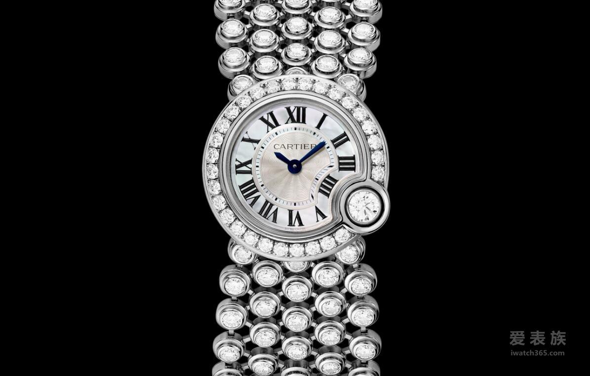 卡地亚Ballon Blanc系列HPI00756珍珠贝母镶钻女表
