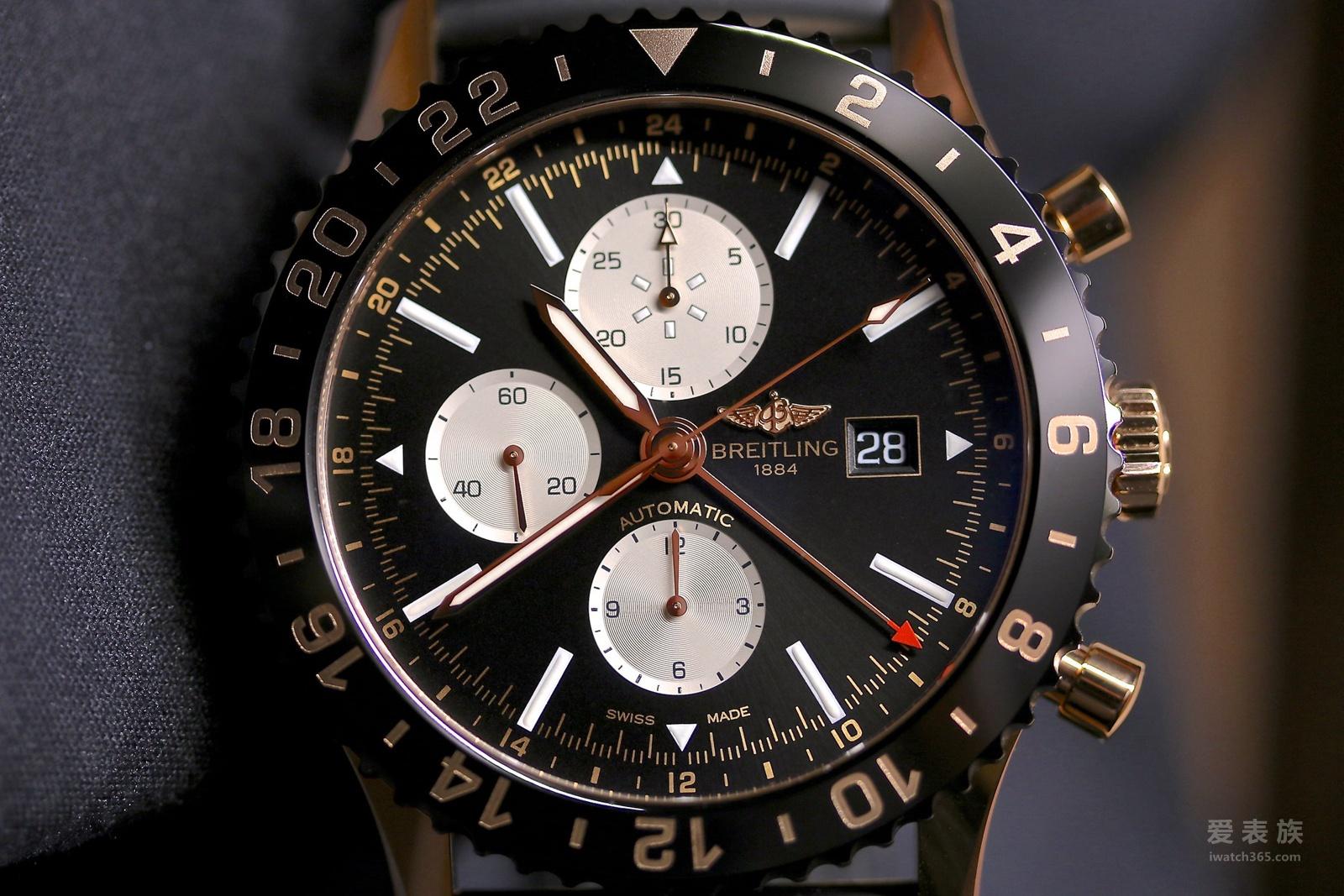 复古灵感---百年灵CHRONOLINER航空飞行红金限量版腕表
