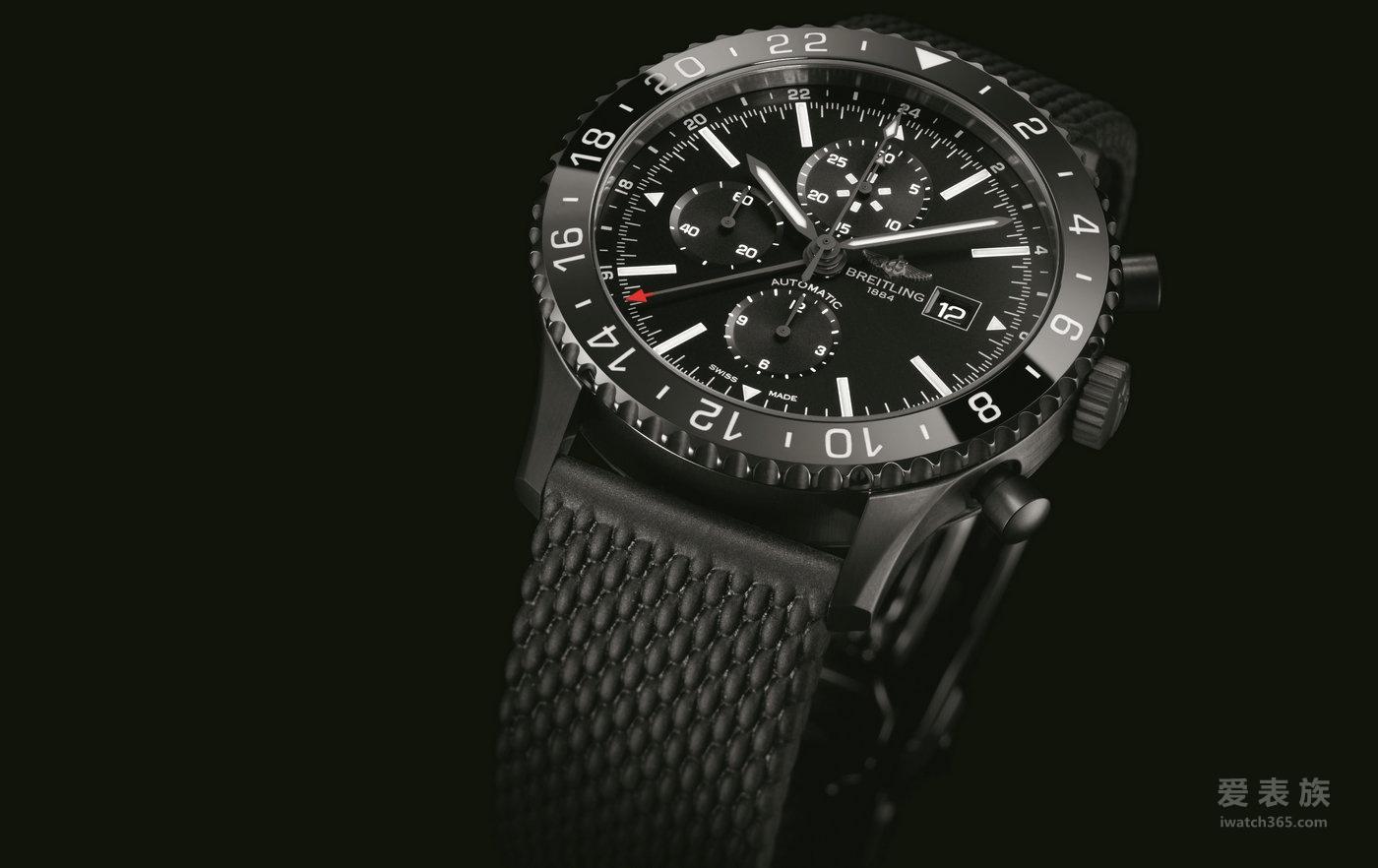 百年灵航空飞行计时黑钢腕表