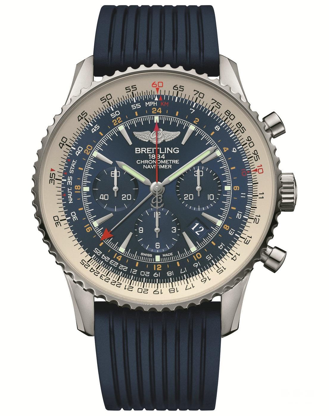 百年灵航空计时世界时间极光蓝腕表 (NAVITIMER GMT Aurora Blue)