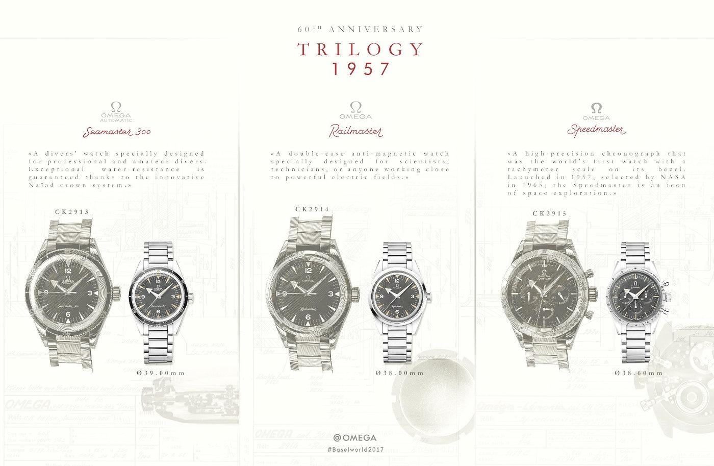 【2017 巴塞尔钟表展新款】欧米茄1957年三大经典腕表限量版套装