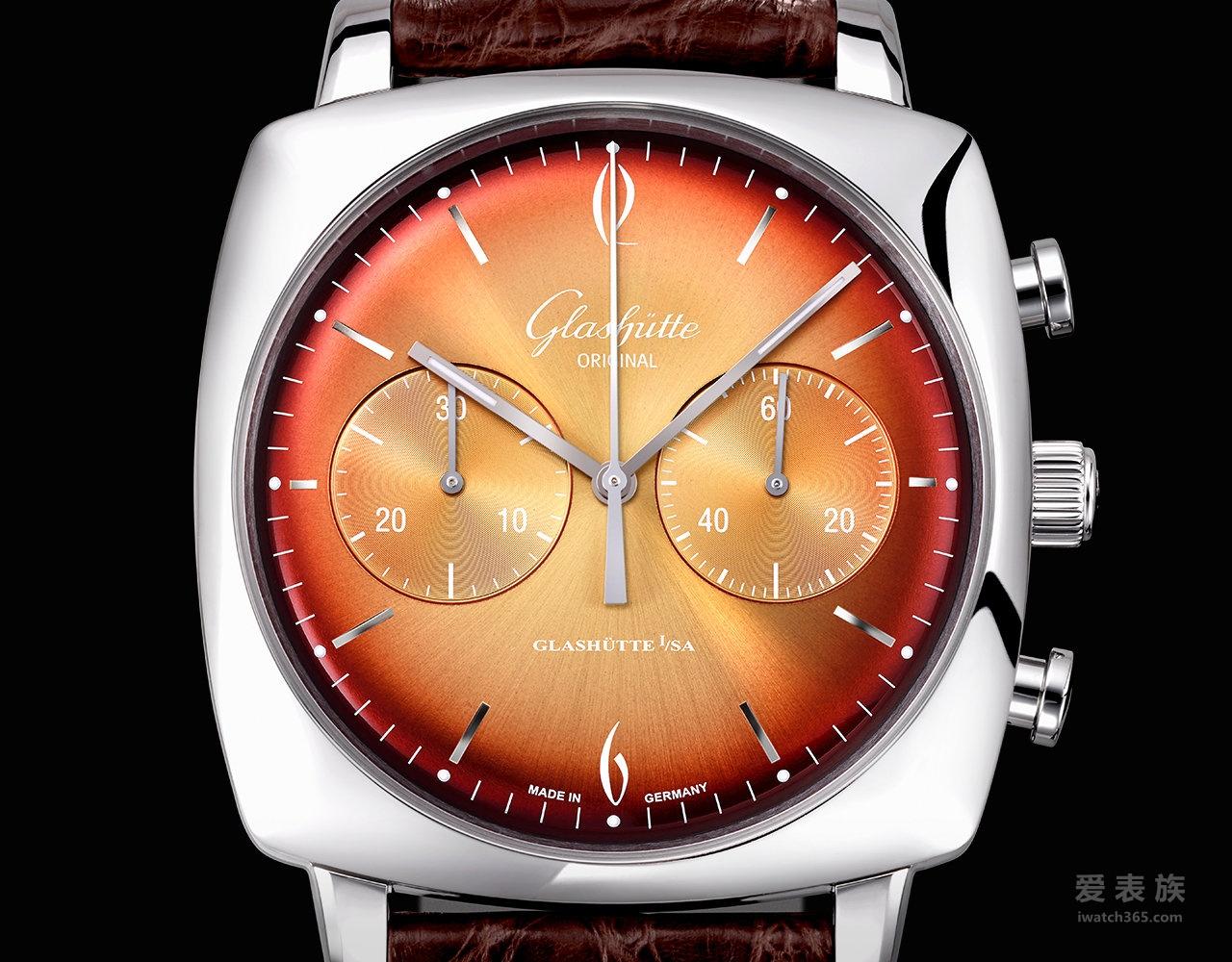 格拉苏蒂原创Vintage系列1-39-34-26-32-04鎏金六零年代标志方形腕表