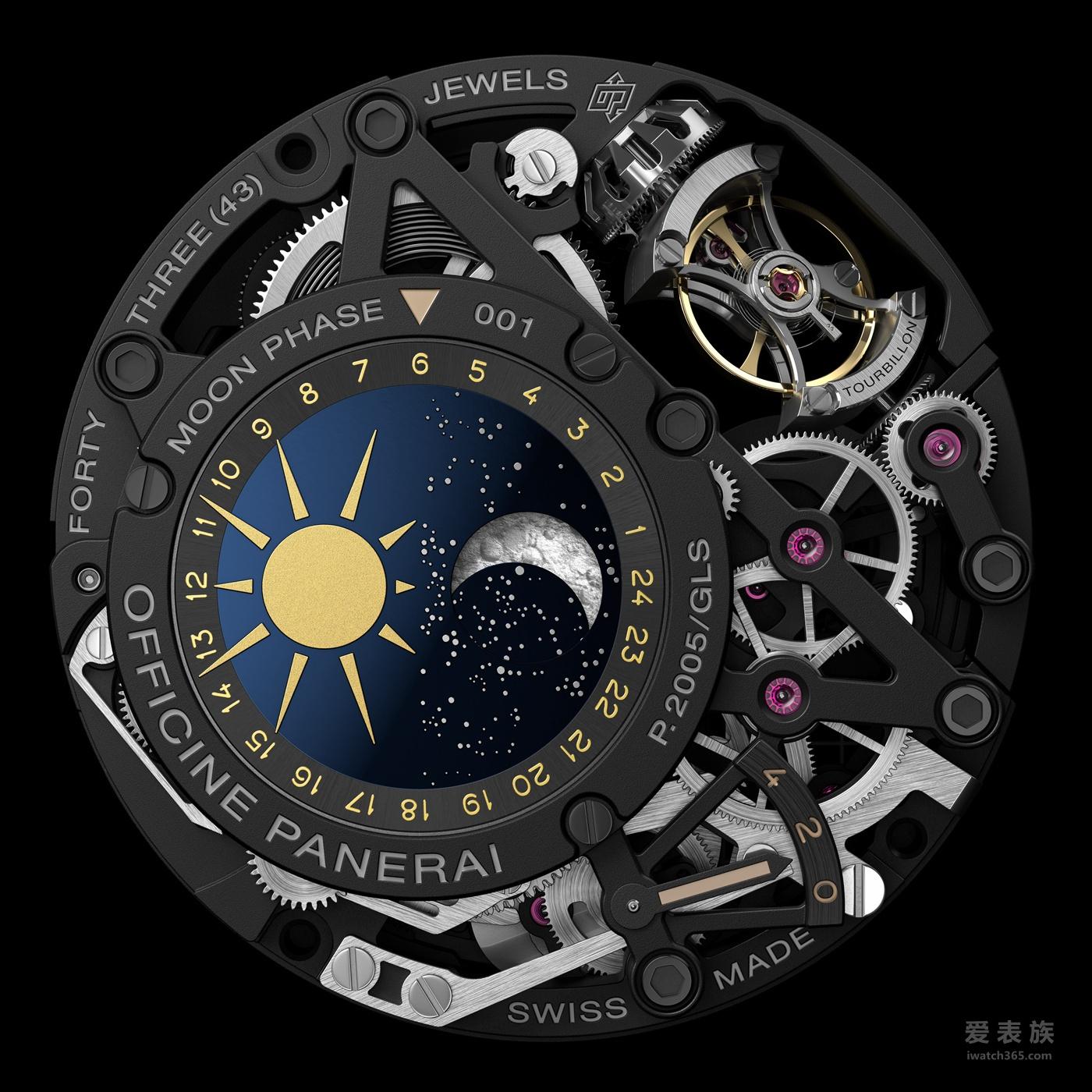 沛纳海L'ASTRONOMO-50毫米陀飞轮月相时间等式两地时间腕表