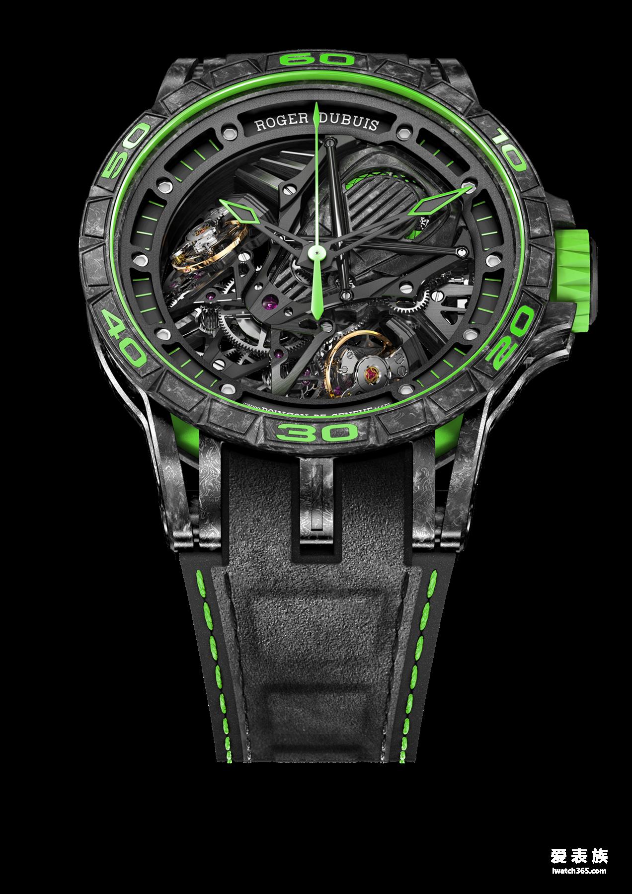 性能,首创和专利——罗杰杜彼Excalibur Aventador S系列绿色腕表首度面世