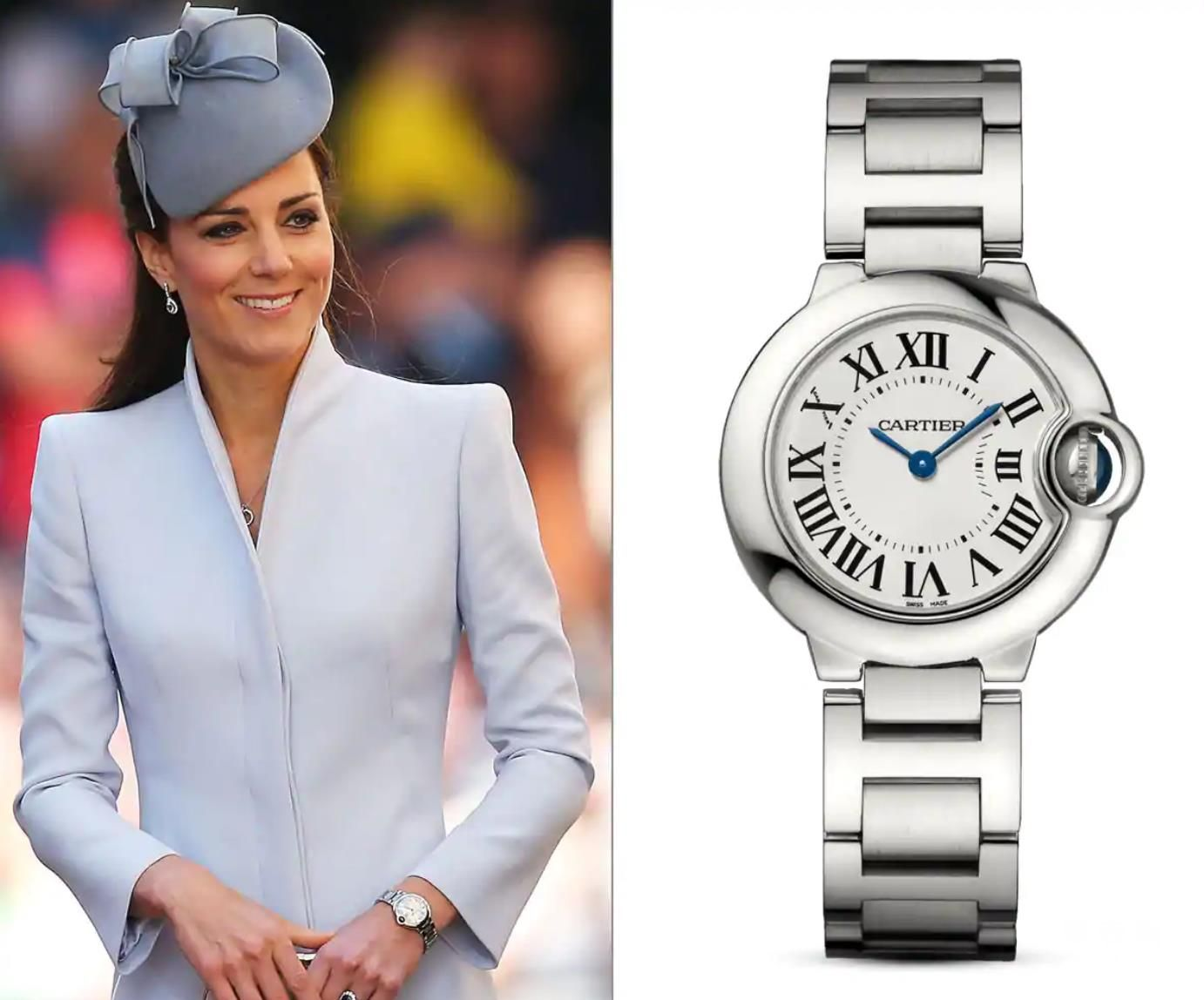 Duchess Kate Middleton佩戴Cartier Ballon Blue De Cartier