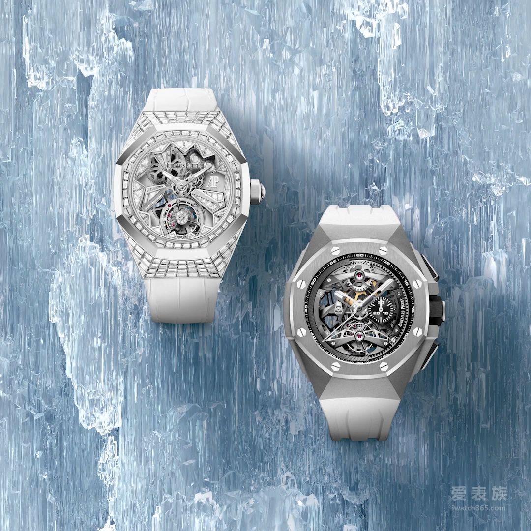 """皇家橡树概念系列浮动式陀飞轮腕表的阶梯型钻石采用隐密式镶嵌技术,白金表盘饰有镶嵌多面宝石的""""冰锥""""造型和白色漆面装饰,令人联想起冬季的汝山谷。这款腕表是皇家橡树概念系列自2002年面世以来推出的第一枚女装表款,并首次采用浮动式陀飞轮,与镂空表盘构造共同营造出如同悬浮的视觉效果。"""