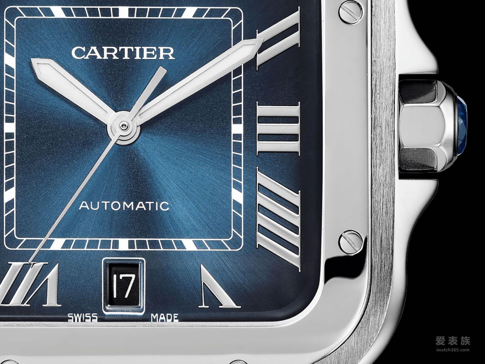卡地亚第一枚蓝面山度士腕表