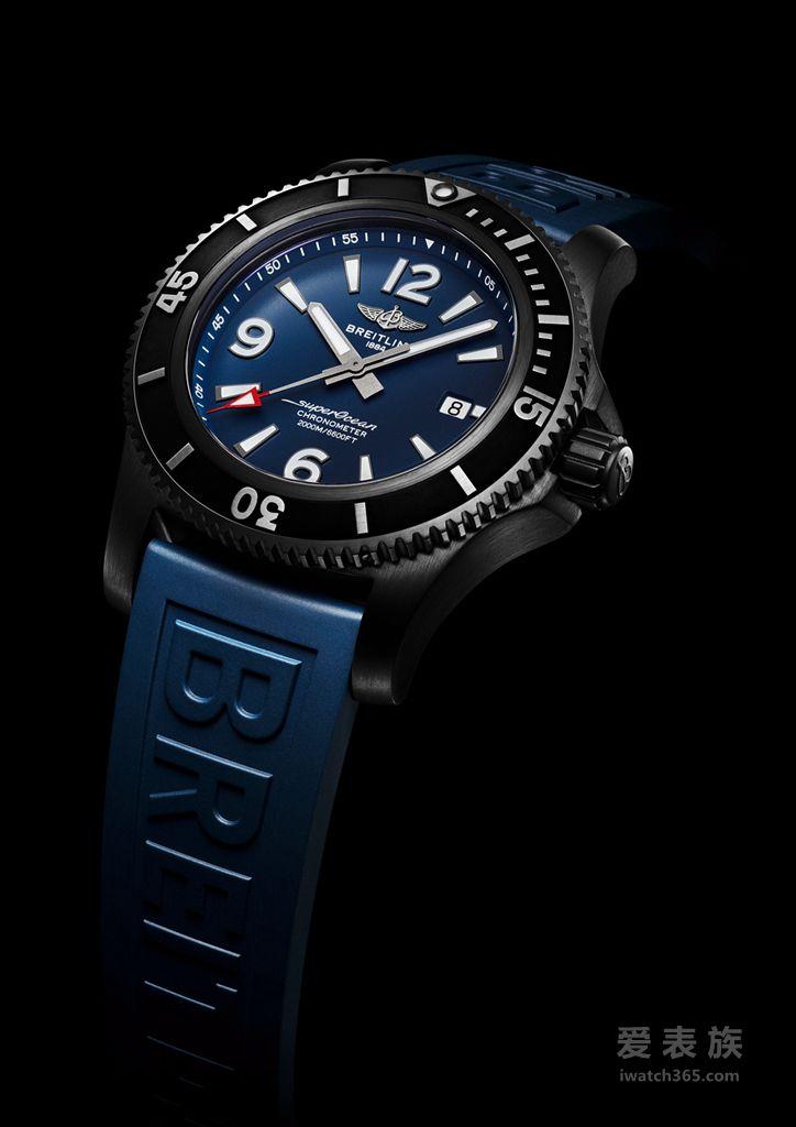 【巴塞尔2019】全新百年灵超级海洋系列(SUPEROCEAN):探险无止境03_Superocean 46 in black steel with blue dial and blue Diver Pro III rubber strap