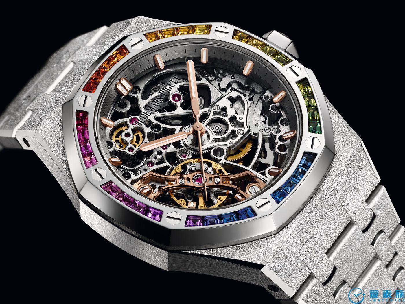 爱彼皇家橡树系列彩虹圈双摆轮镂空腕表